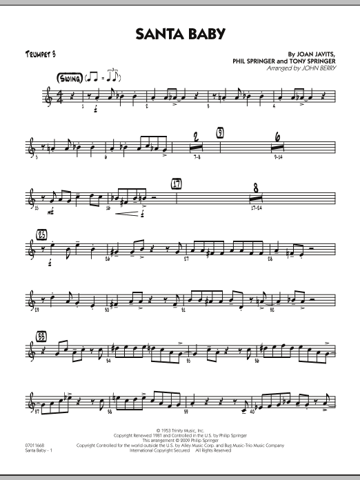 John Berry Santa Baby - Trumpet 3 sheet music preview music notes and score for Jazz Ensemble including 2 page(s)