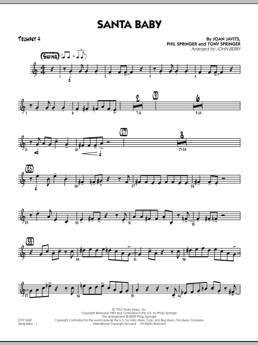 John Berry Santa Baby - Trumpet 4 sheet music preview music notes and score for Jazz Ensemble including 2 page(s)