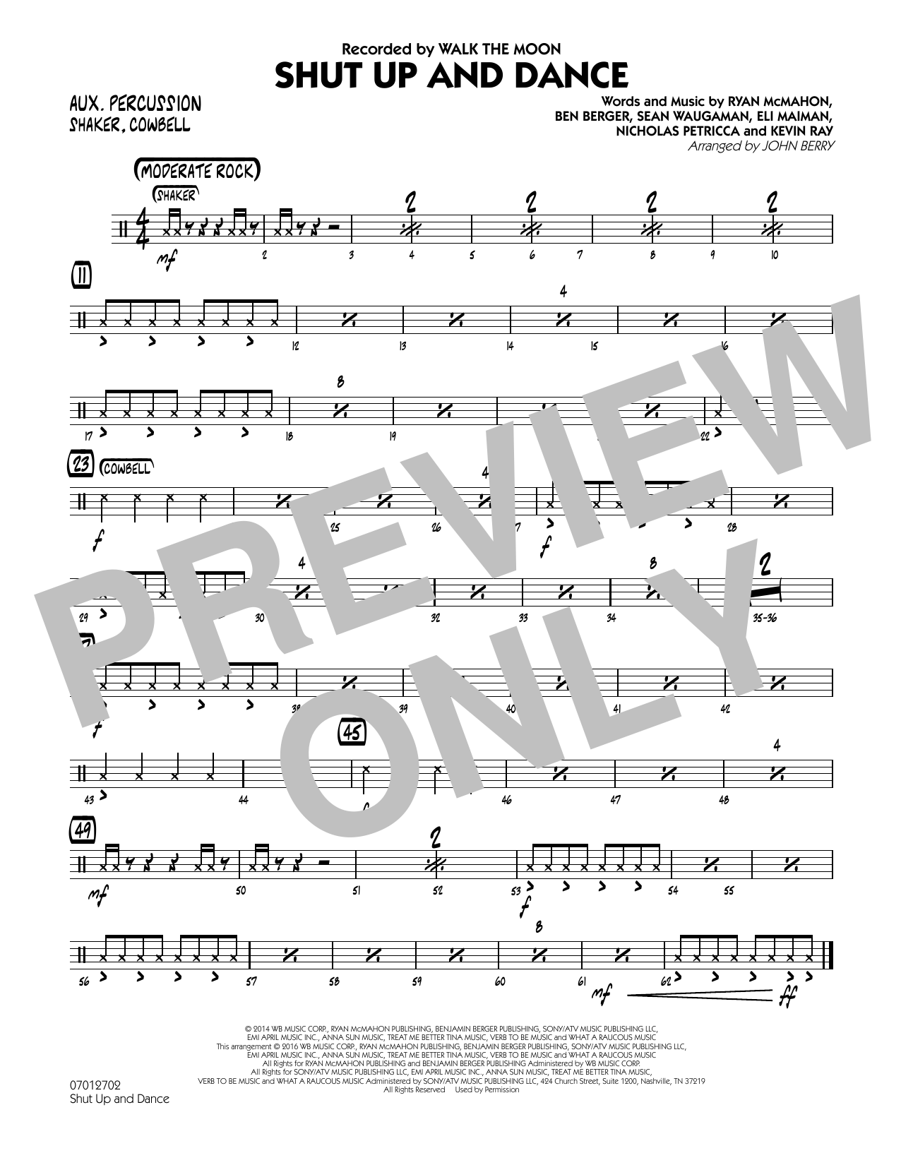 John Berry Shut Up and Dance - Aux Percussion sheet music preview music notes and score for Jazz Ensemble including 1 page(s)