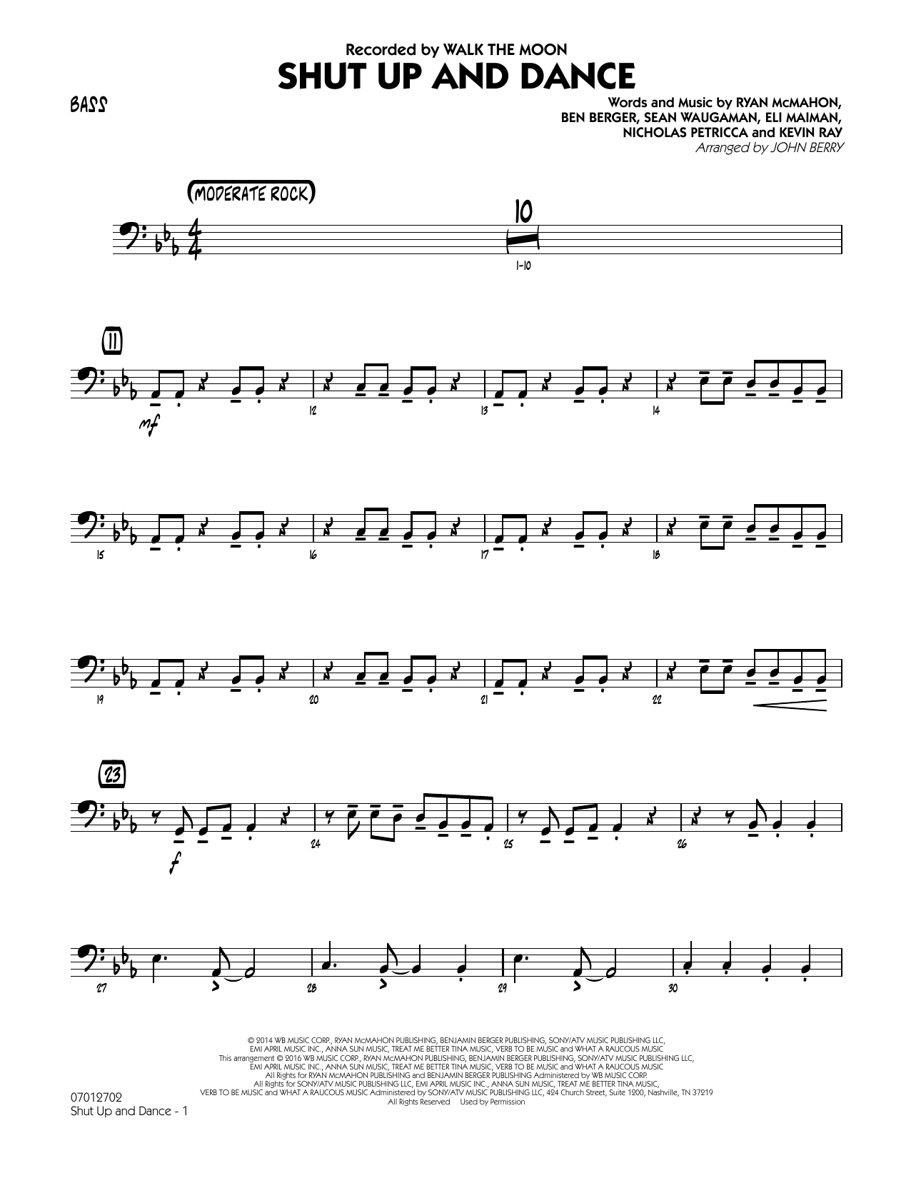 John Berry Shut Up and Dance - Bass sheet music preview music notes and score for Jazz Ensemble including 2 page(s)