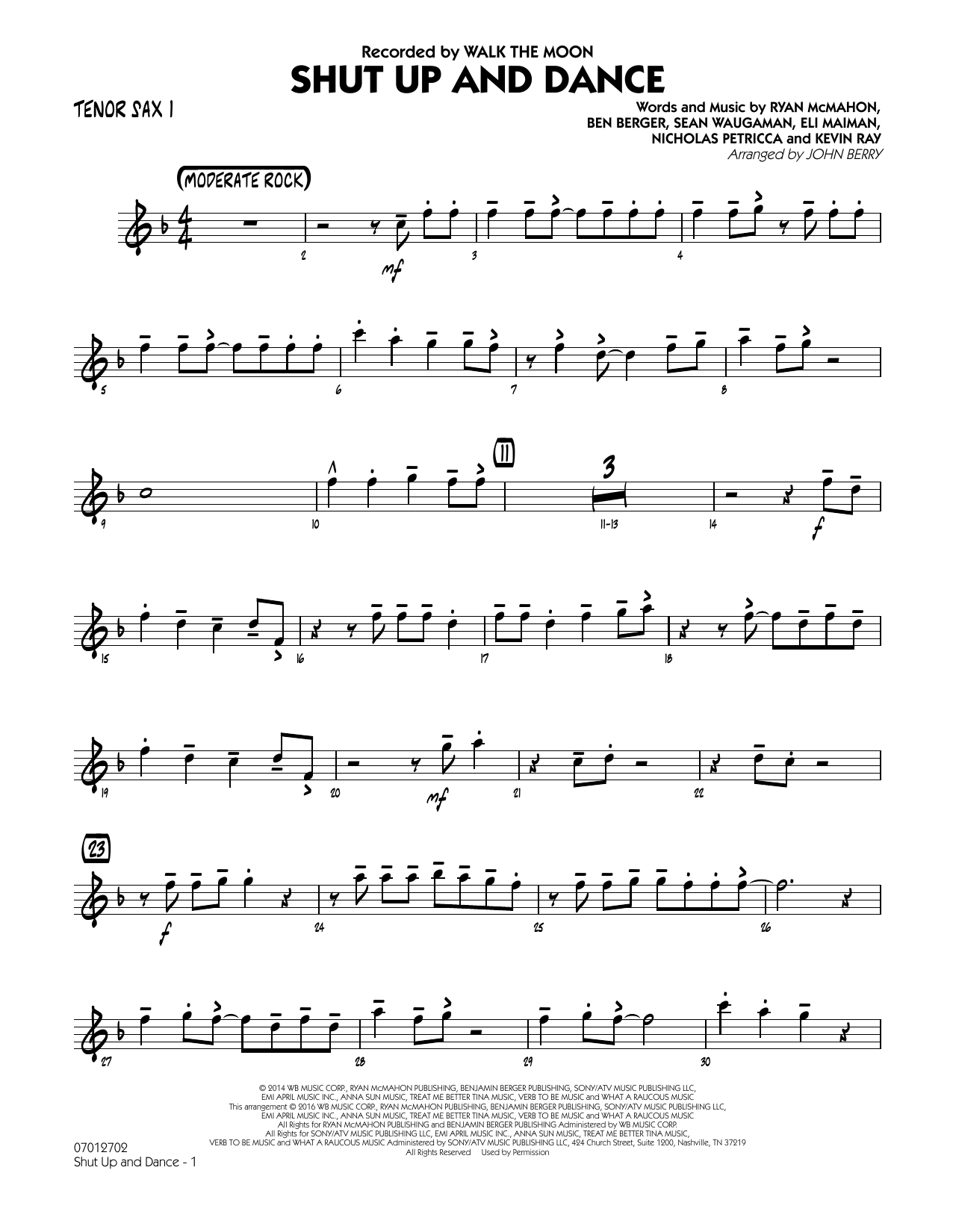 John Berry Shut Up and Dance - Tenor Sax 1 sheet music preview music notes and score for Jazz Ensemble including 2 page(s)