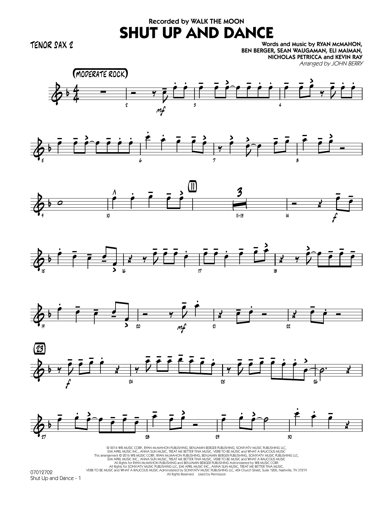 John Berry Shut Up and Dance - Tenor Sax 2 sheet music preview music notes and score for Jazz Ensemble including 2 page(s)
