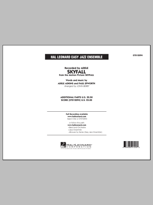 John Berry Skyfall - Conductor Score (Full Score) sheet music notes and chords