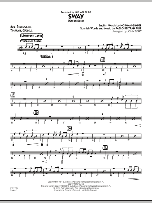John Berry Sway (Quien Sera) - Aux Percussion sheet music preview music notes and score for Jazz Ensemble including 2 page(s)