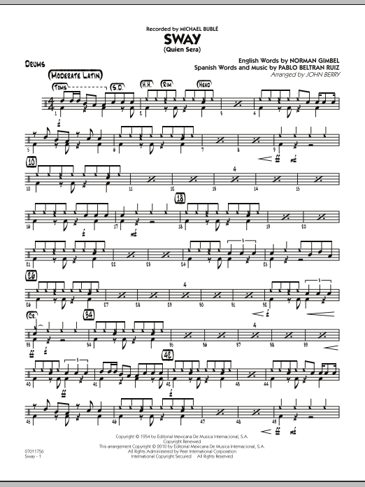 John Berry Sway (Quien Sera) - Drums sheet music preview music notes and score for Jazz Ensemble including 2 page(s)