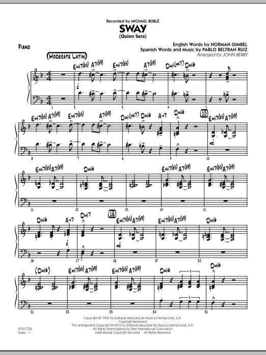 John Berry Sway (Quien Sera) - Piano sheet music preview music notes and score for Jazz Ensemble including 4 page(s)