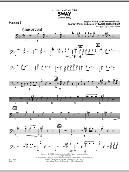 John Berry Sway (Quien Sera) - Trombone 2 sheet music preview music notes and score for Jazz Ensemble including 2 page(s)