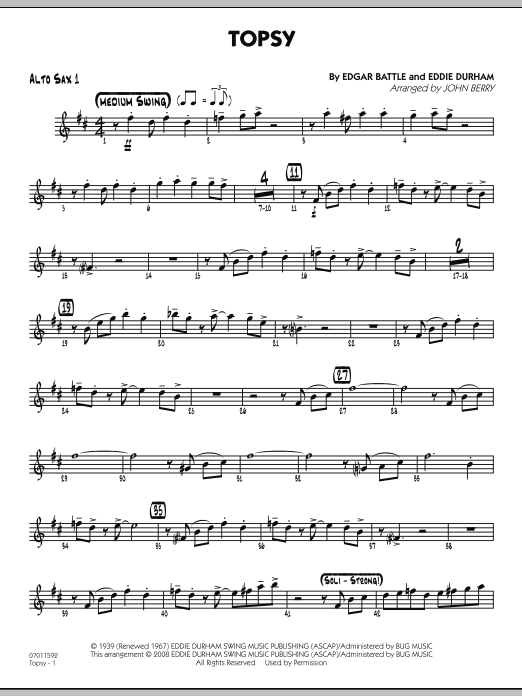 John Berry Topsy - Alto Sax 1 sheet music preview music notes and score for Jazz Ensemble including 2 page(s)