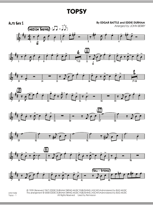 John Berry Topsy - Alto Sax 2 sheet music preview music notes and score for Jazz Ensemble including 2 page(s)