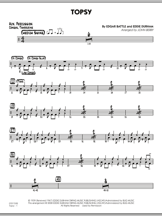 John Berry Topsy - Aux Percussion sheet music preview music notes and score for Jazz Ensemble including 2 page(s)