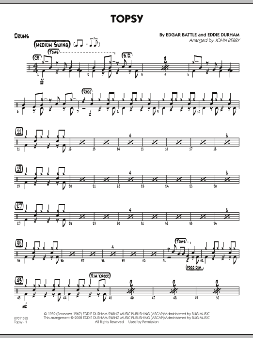 John Berry Topsy - Drums sheet music preview music notes and score for Jazz Ensemble including 2 page(s)