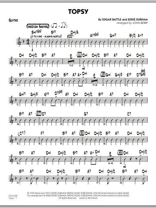 John Berry Topsy - Guitar sheet music preview music notes and score for Jazz Ensemble including 2 page(s)