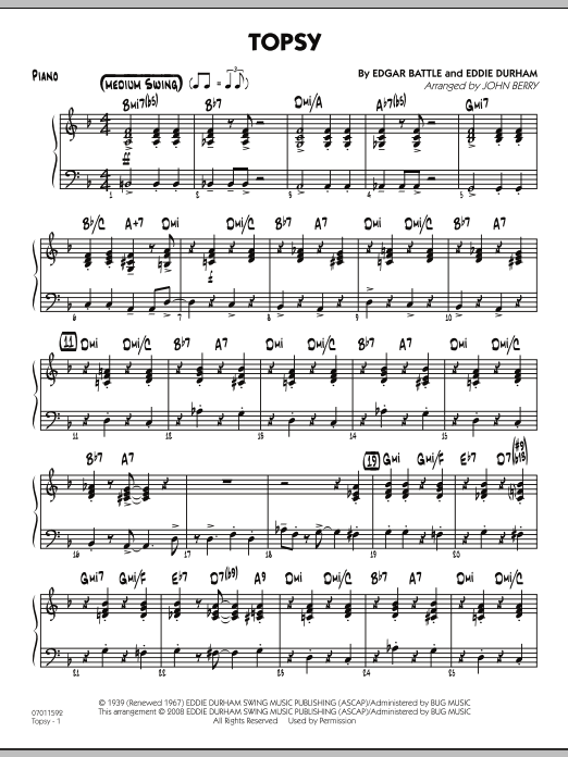 John Berry Topsy - Piano sheet music preview music notes and score for Jazz Ensemble including 4 page(s)