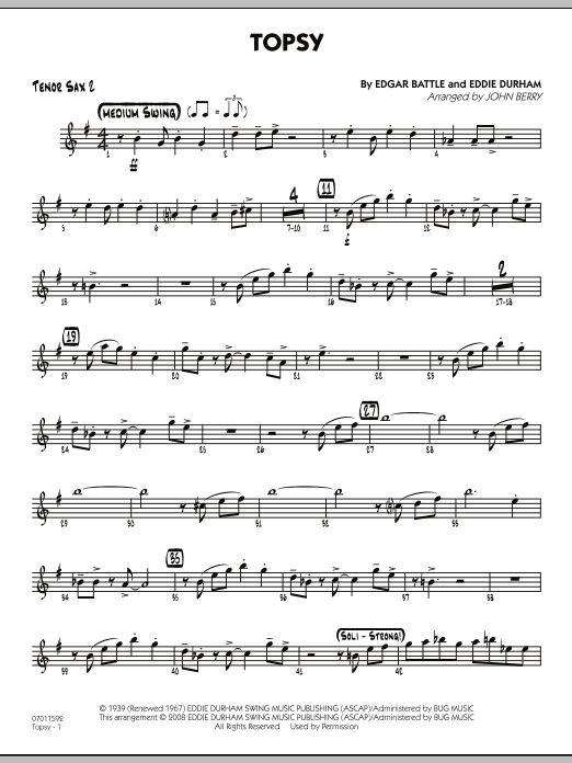 John Berry Topsy - Tenor Sax 2 sheet music preview music notes and score for Jazz Ensemble including 2 page(s)