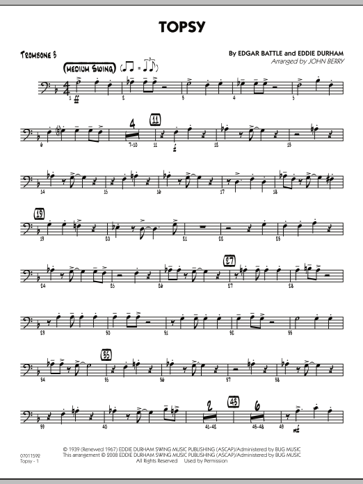 John Berry Topsy - Trombone 3 sheet music preview music notes and score for Jazz Ensemble including 2 page(s)