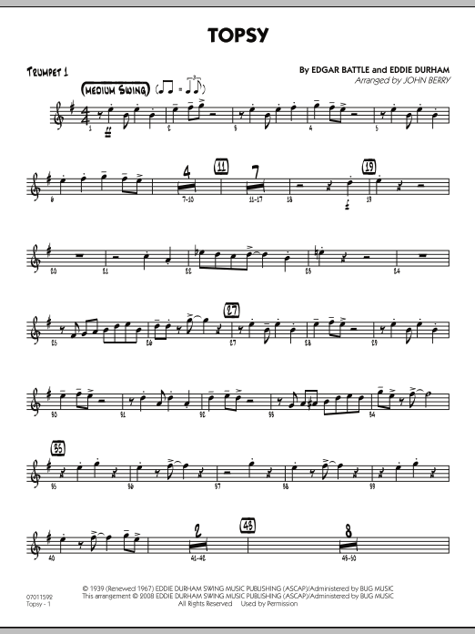John Berry Topsy - Trumpet 1 sheet music preview music notes and score for Jazz Ensemble including 2 page(s)