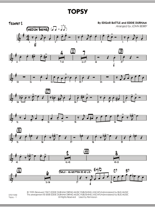 John Berry Topsy - Trumpet 2 sheet music preview music notes and score for Jazz Ensemble including 2 page(s)