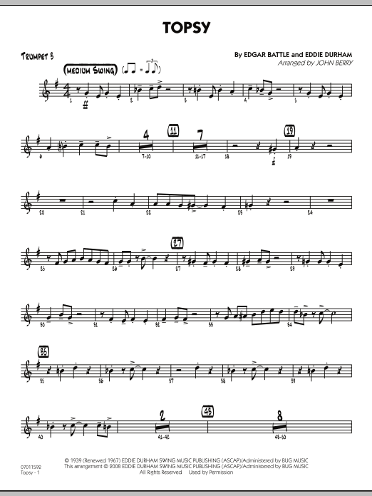 John Berry Topsy - Trumpet 3 sheet music preview music notes and score for Jazz Ensemble including 2 page(s)
