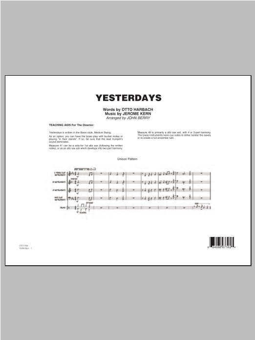 John Berry Yesterdays - Conductor Score (Full Score) sheet music preview music notes and score for Jazz Ensemble including 8 page(s)