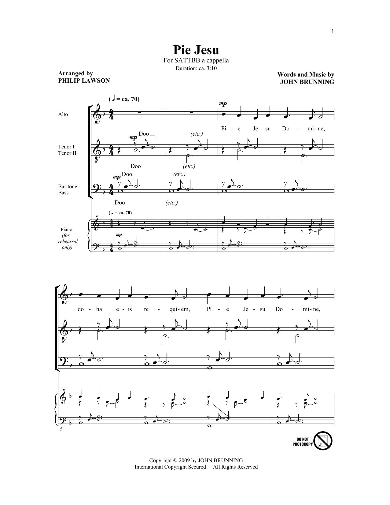 Download John Brunning 'Pie Jesu (arr. Philip Lawson)' Digital Sheet Music Notes & Chords and start playing in minutes