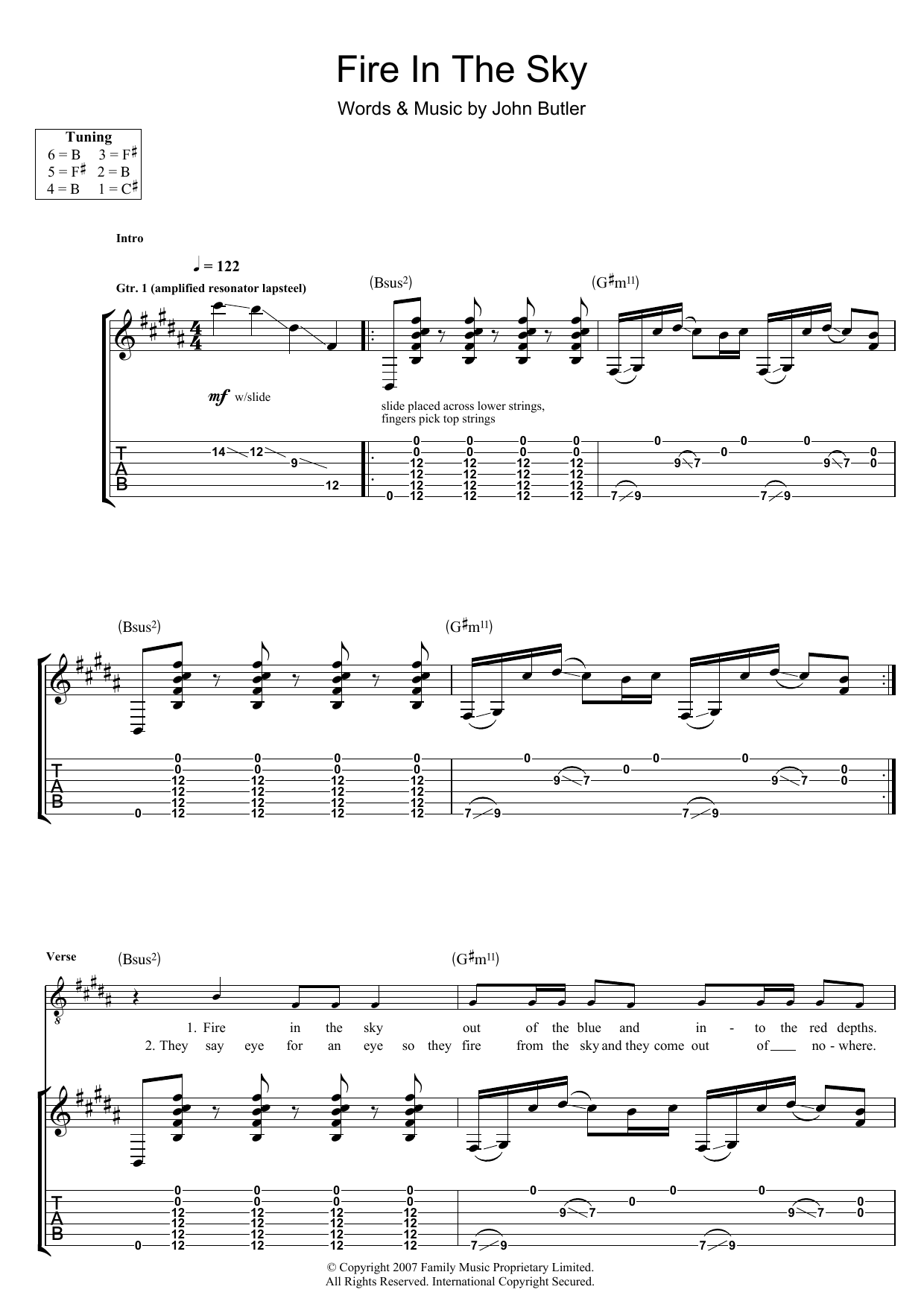John Butler Fire In The Sky sheet music preview music notes and score for Guitar Tab including 8 page(s)