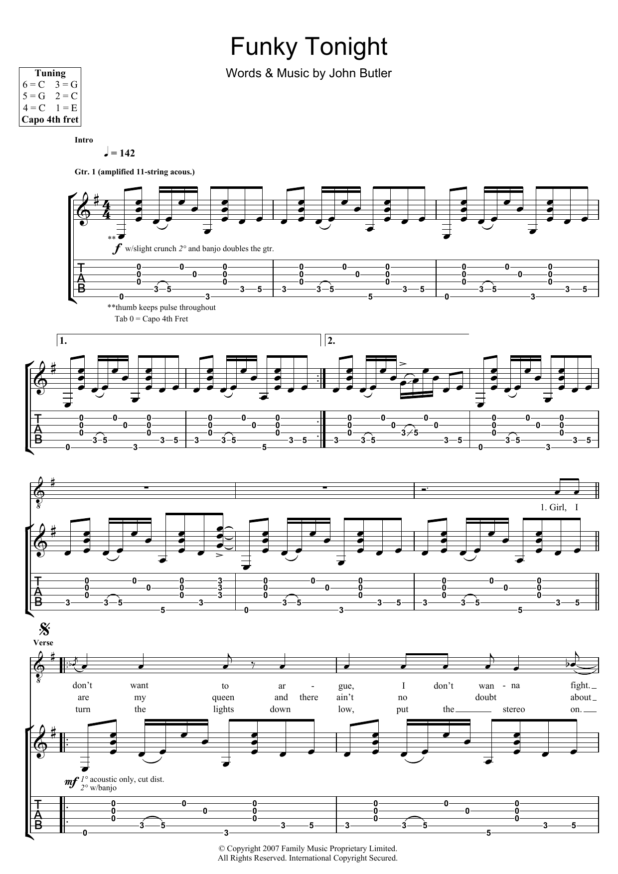 John Butler Funky Tonight sheet music preview music notes and score for Guitar Tab including 9 page(s)