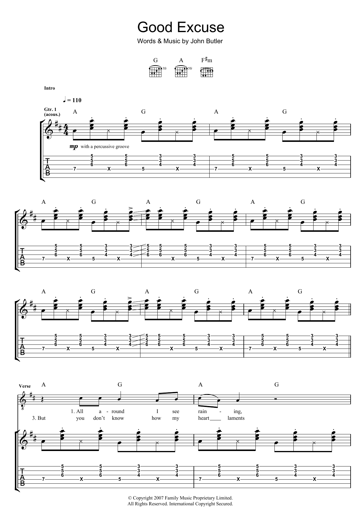 John Butler Good Excuse sheet music preview music notes and score for Guitar Tab including 5 page(s)