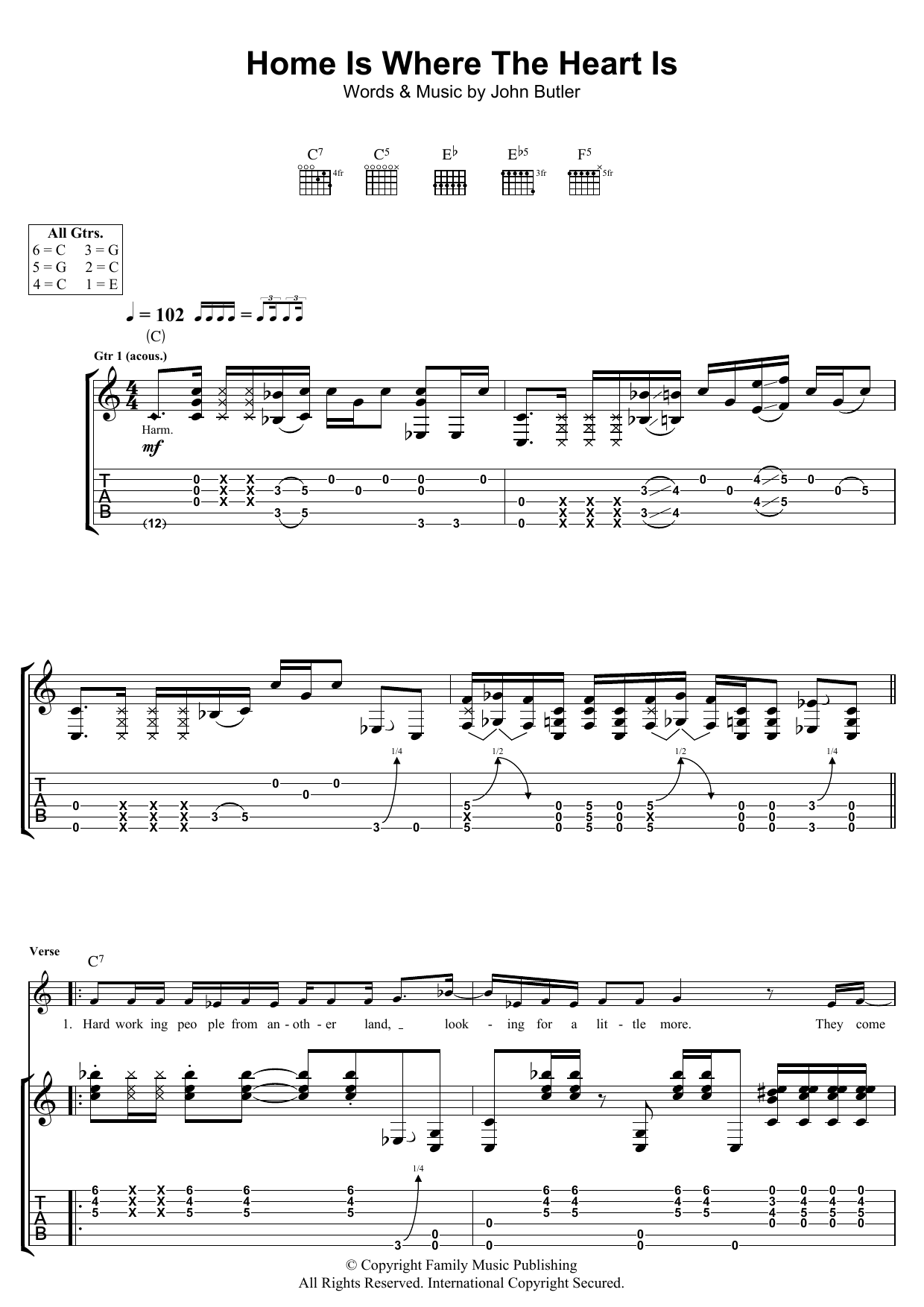 John Butler Home Is Where The Heart Is sheet music preview music notes and score for Guitar Tab including 8 page(s)