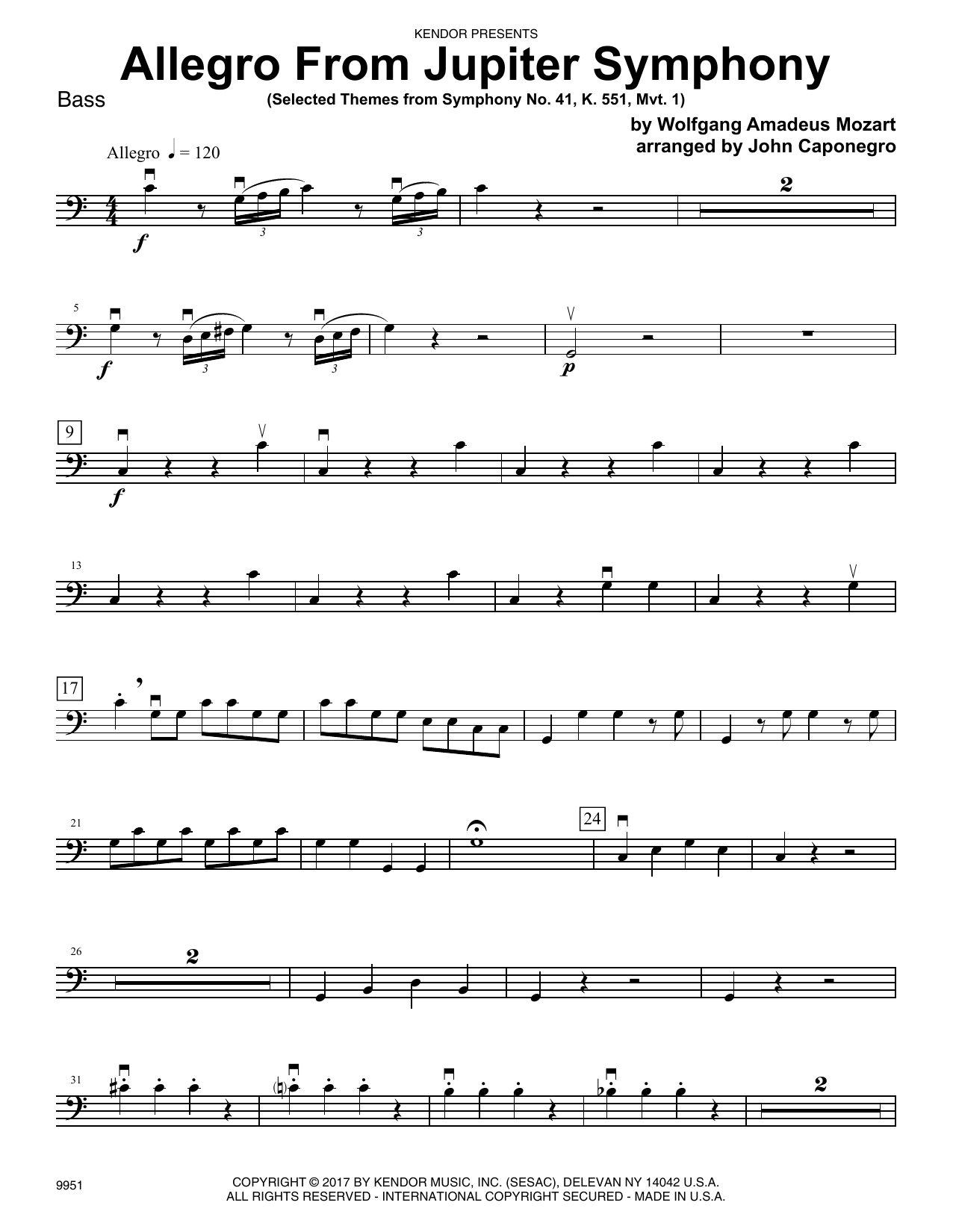 John Caponegro Allegro From Jupiter Symphony - Bass sheet music preview music notes and score for Orchestra including 3 page(s)