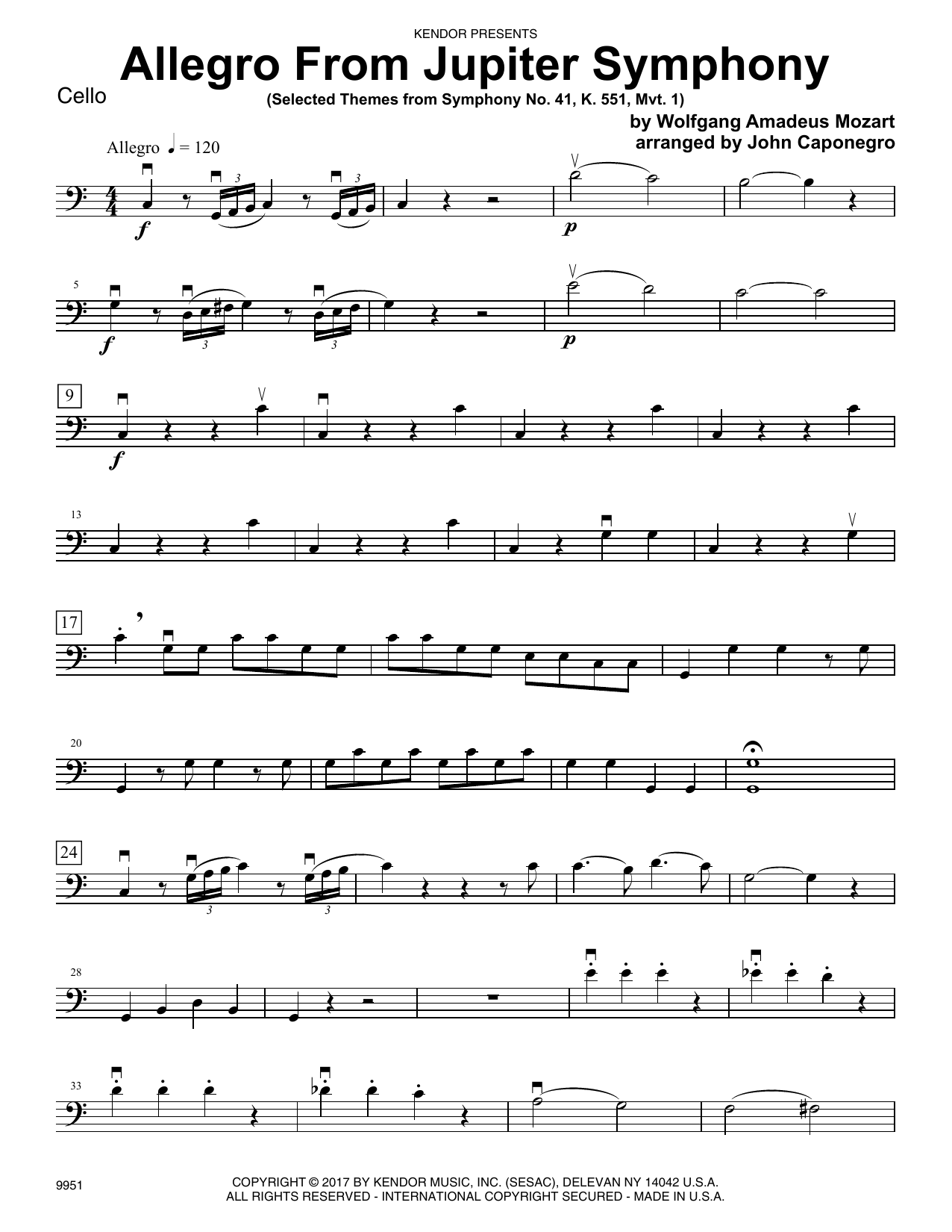 John Caponegro Allegro From Jupiter Symphony - Cello sheet music preview music notes and score for Orchestra including 3 page(s)