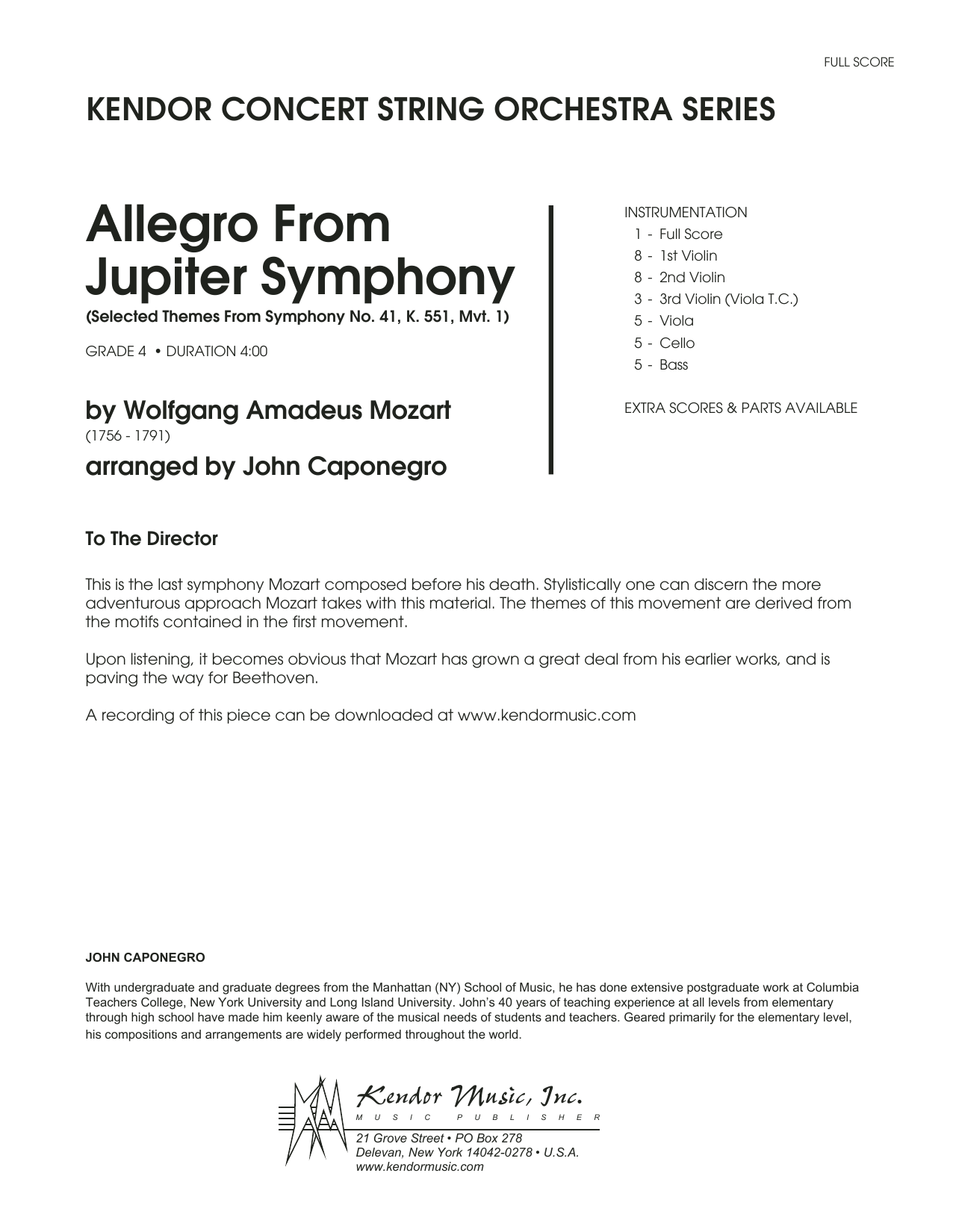 John Caponegro Allegro From Jupiter Symphony - Full Score sheet music preview music notes and score for Orchestra including 11 page(s)