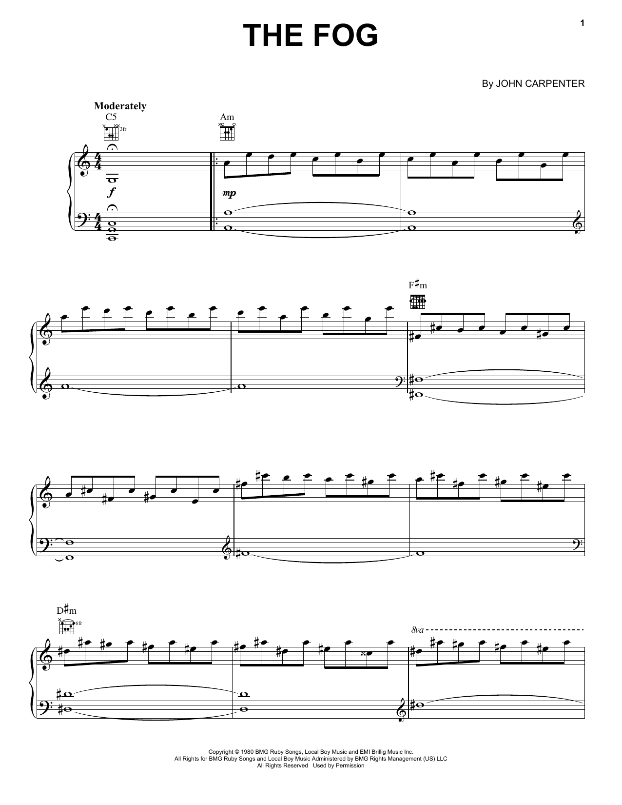 Download John Carpenter 'The Fog' Digital Sheet Music Notes & Chords and start playing in minutes