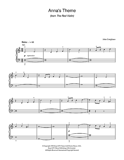Download John Corigliano 'Anna's Theme (from The Red Violin)' Digital Sheet Music Notes & Chords and start playing in minutes