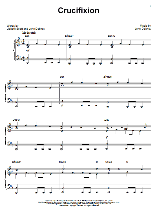 John Debney Crucifixion sheet music preview music notes and score for Piano including 4 page(s)