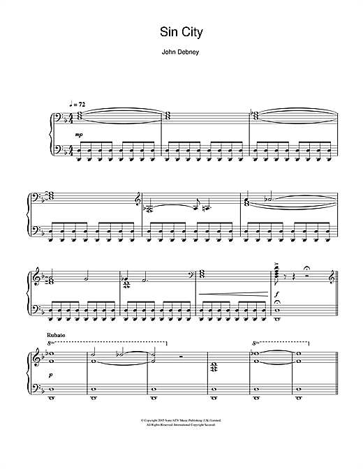 Download John Debney 'Sin City (The Big Fat Kill)' Digital Sheet Music Notes & Chords and start playing in minutes