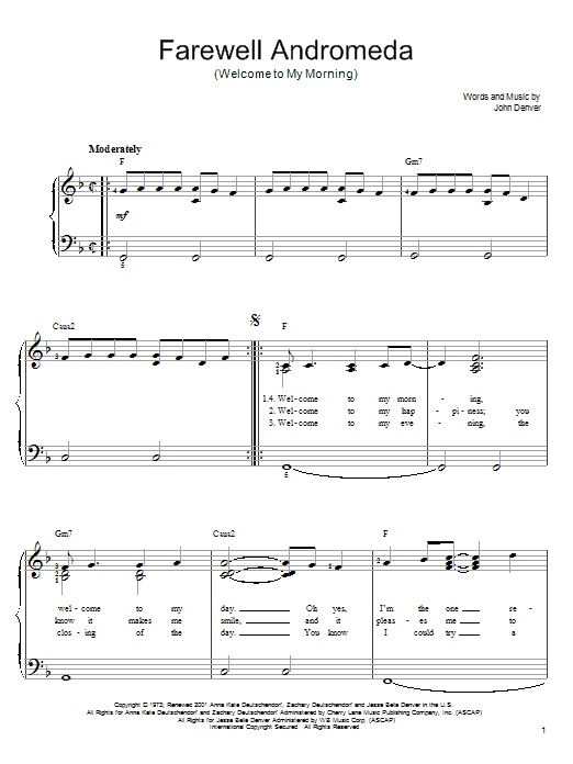 John Denver Farewell Andromeda (Welcome To My Morning) sheet music preview music notes and score for Easy Piano including 4 page(s)