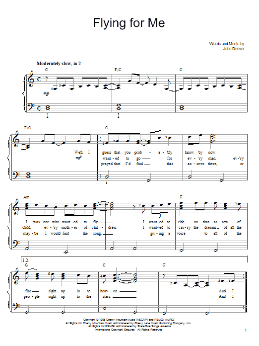 John Denver Flying For Me sheet music preview music notes and score for Easy Piano including 5 page(s)