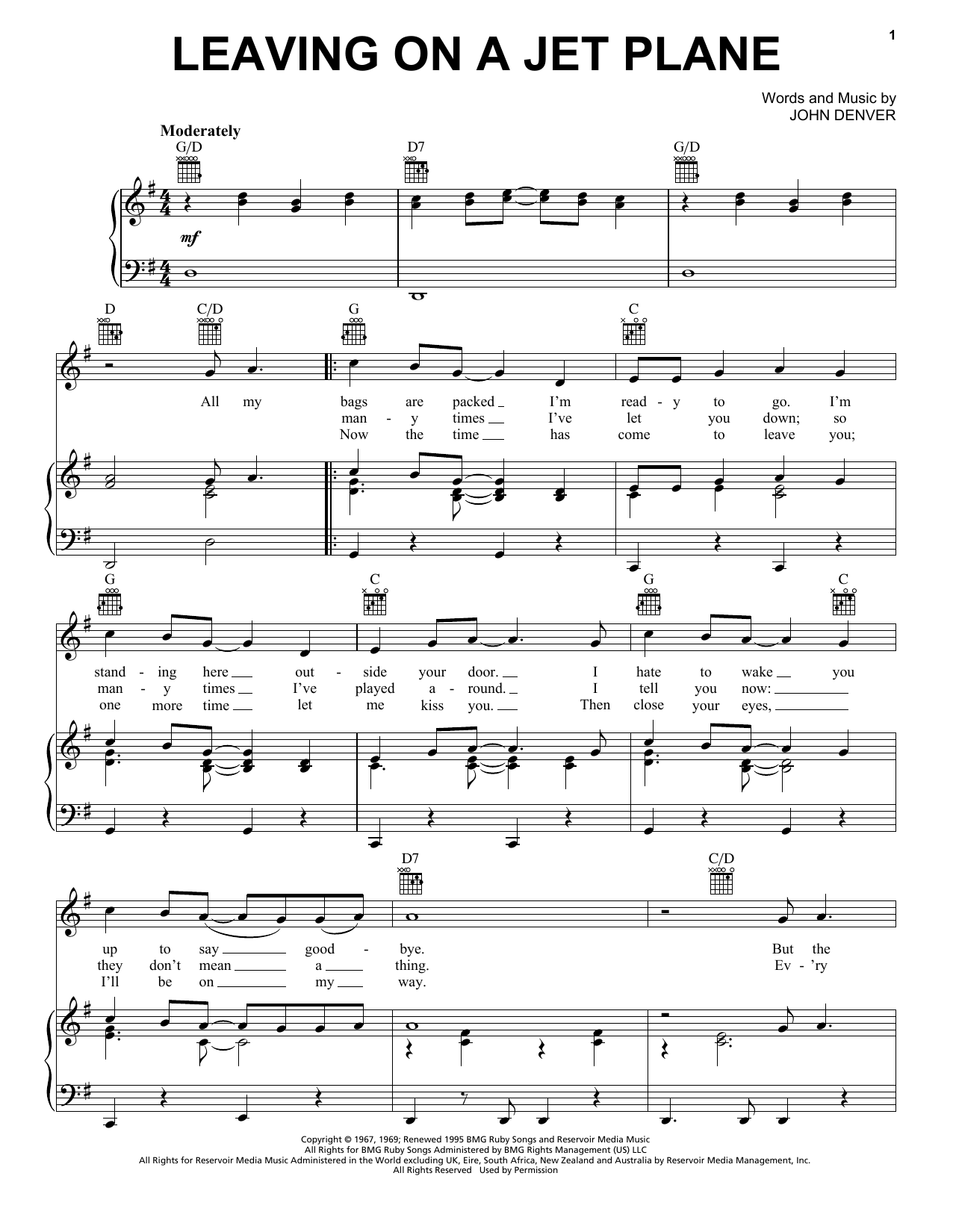 John Denver Leaving On A Jet Plane sheet music preview music notes and score for Guitar Tab including 3 page(s)