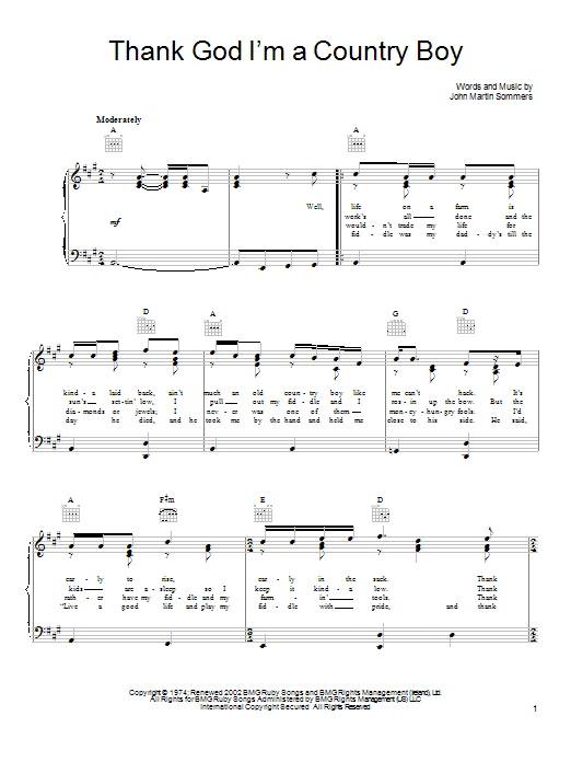 John Denver Thank God I'm A Country Boy sheet music preview music notes and score for Piano, Vocal & Guitar (Right-Hand Melody) including 3 page(s)