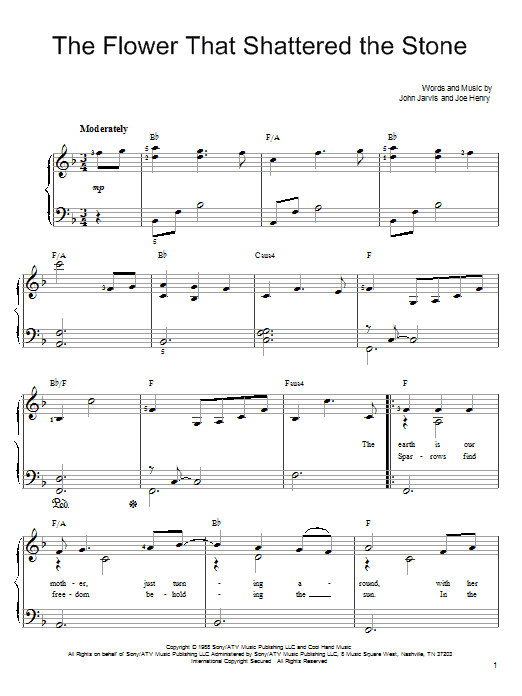 John Denver The Flower That Shattered The Stone sheet music preview music notes and score for Easy Piano including 4 page(s)