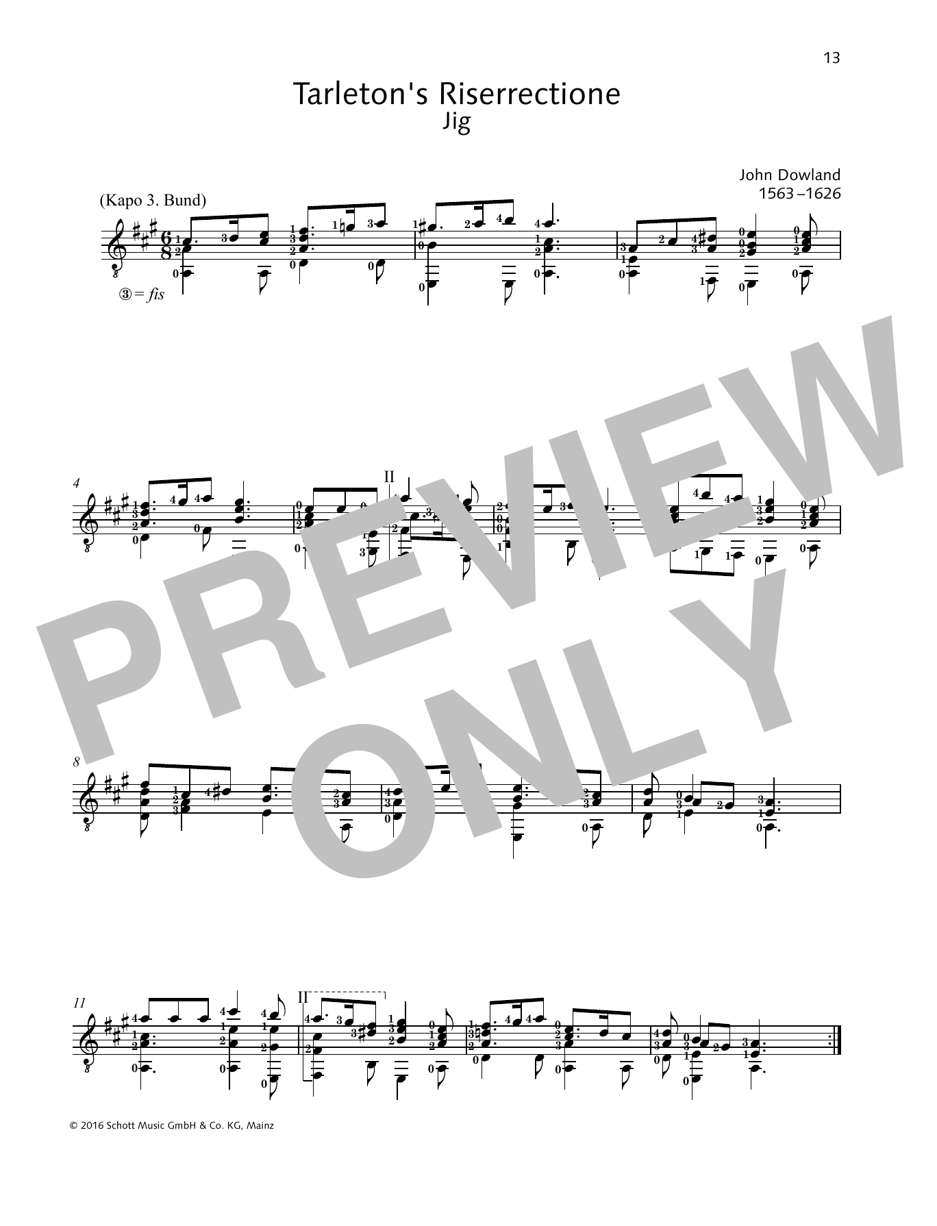 John Dowland Tarleton's Riserrectione sheet music preview music notes and score for Solo Guitar Tab including 1 page(s)