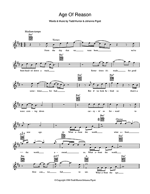 John Farnham Age Of Reason sheet music preview music notes and score for Melody Line, Lyrics & Chords including 2 page(s)