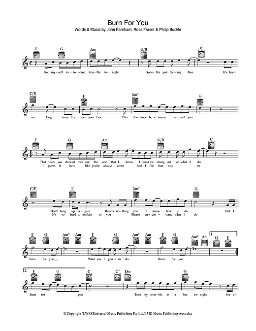 John Farnham Burn For You sheet music preview music notes and score for Melody Line, Lyrics & Chords including 2 page(s)