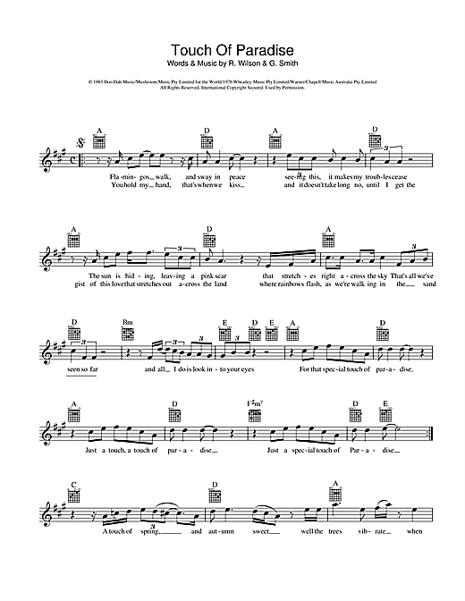 John Farnham Touch Of Paradise sheet music preview music notes and score for Melody Line, Lyrics & Chords including 2 page(s)