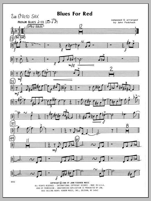John Fedchock Blues For Red - 2nd Eb Alto Saxophone sheet music preview music notes and score for Jazz Ensemble including 2 page(s)