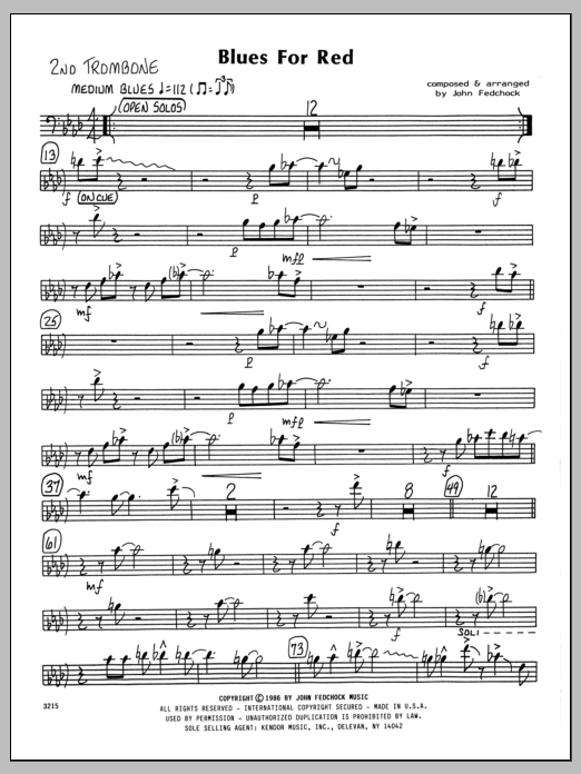 John Fedchock Blues For Red - 2nd Trombone sheet music preview music notes and score for Jazz Ensemble including 2 page(s)