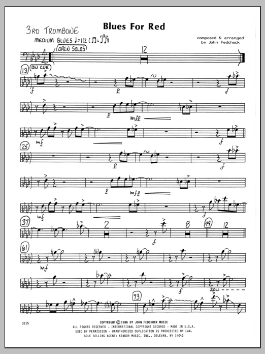 John Fedchock Blues For Red - 3rd Trombone sheet music preview music notes and score for Jazz Ensemble including 2 page(s)