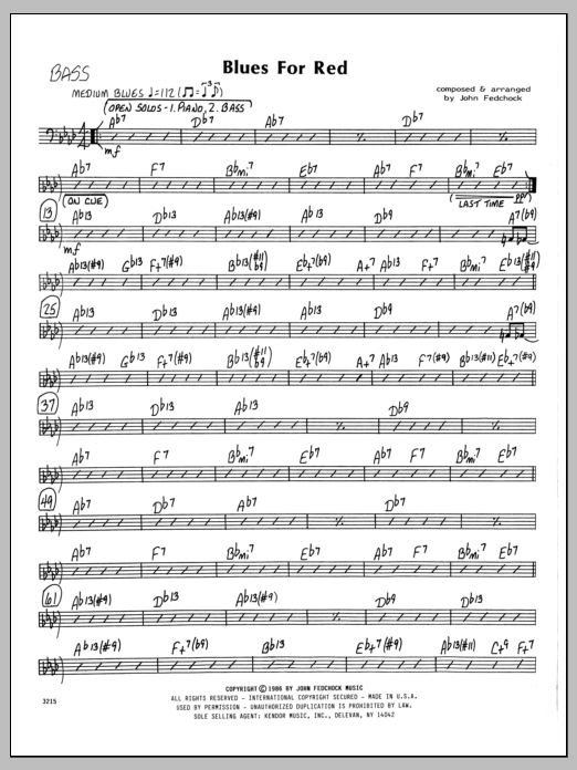 John Fedchock Blues For Red - Bass sheet music preview music notes and score for Jazz Ensemble including 2 page(s)