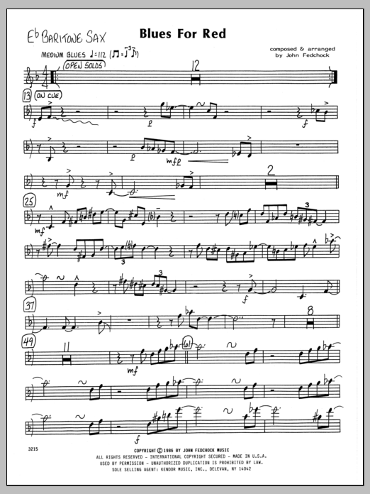 John Fedchock Blues For Red - Eb Baritone Sax sheet music preview music notes and score for Jazz Ensemble including 2 page(s)