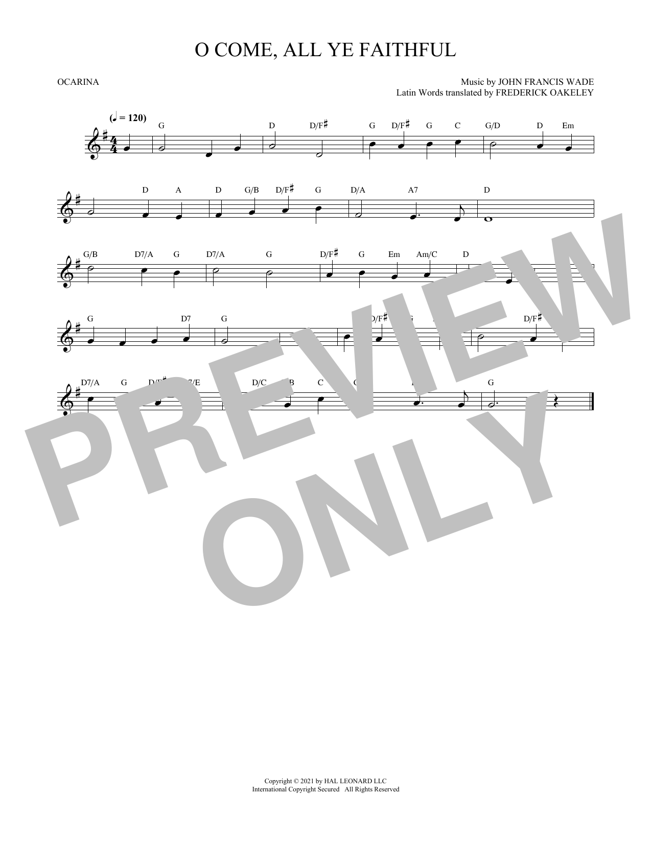 John Francis Wade O Come, All Ye Faithful sheet music preview music notes and score for E-Z Play Today including 2 page(s)